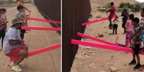 Il installe des balançoires pour enfants sur le mur séparant le Mexique des États-Unis