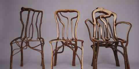 """Ce designer fait """"littéralement"""" pousser ses chaises en guidant les plantes avec des tuteurs"""