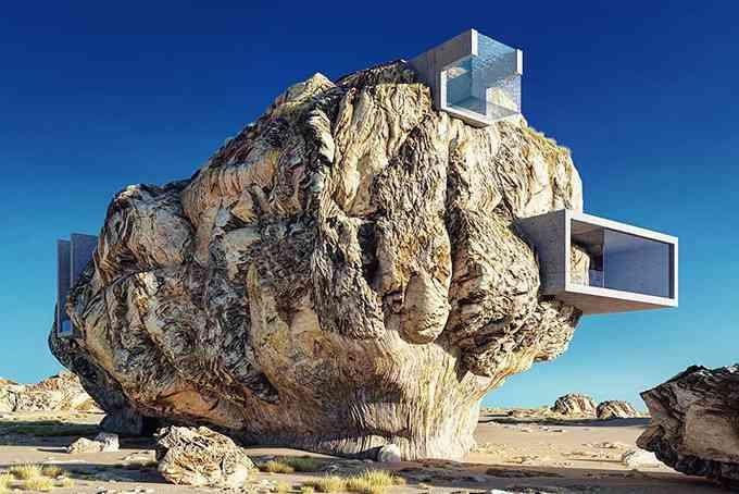 Ce designer veut construire une villa en béton à l'intérieur d'un rocher