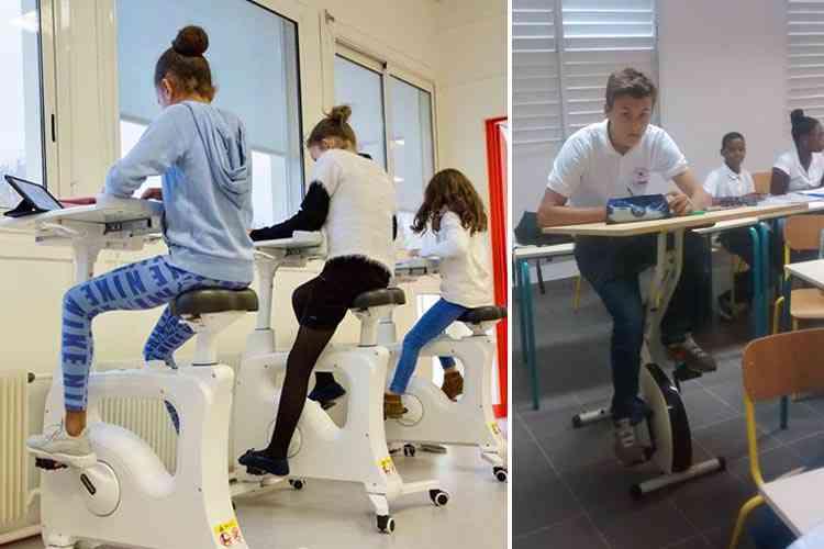 Photo de Des collèges testent le vélo-bureau pour canaliser l'énergie des élèves et de les rendre plus attentifs aux cours