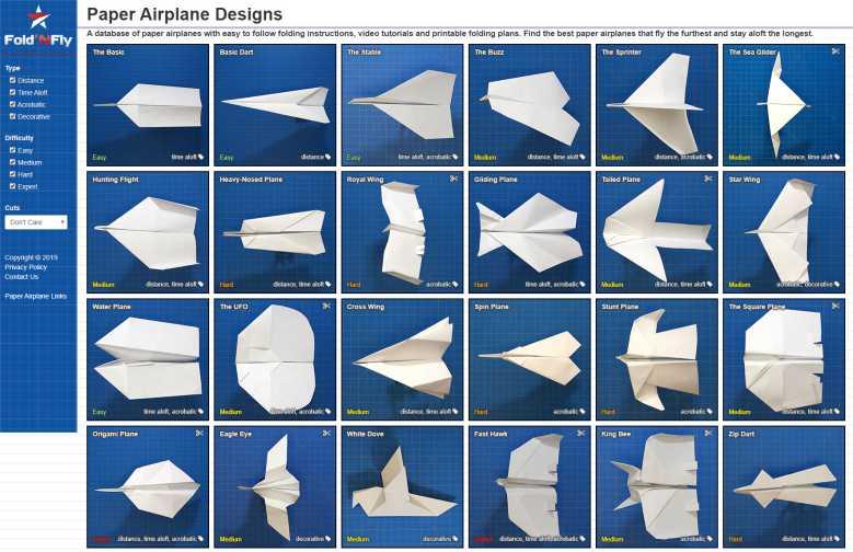 Voici 44 modèles d'avions en papier différents, avec toutes instructions pour les plier