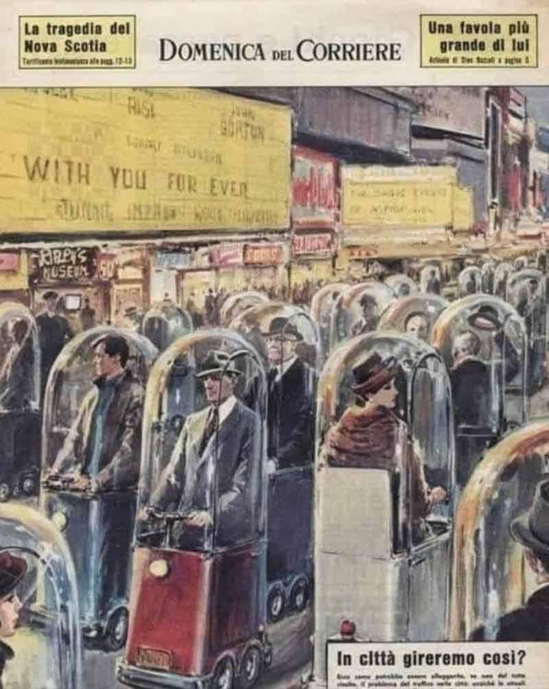 Cette couverture d'anticipation publiée en 1962 dévoilaient des passants enfermés dans des bulles de verre en 2022...