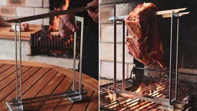 Photo de Jaap : une ingénieuse broche de barbecue pour cuire la viande… à la verticale !
