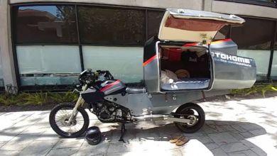 Photo de MotoHome : un étudiant a fabriqué une étonnante moto camping car