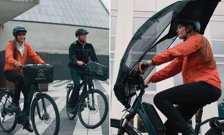 """Crowdfunding : BikerTop, le premier """"parapluie vélo"""" pour toujours rouler au sec !"""