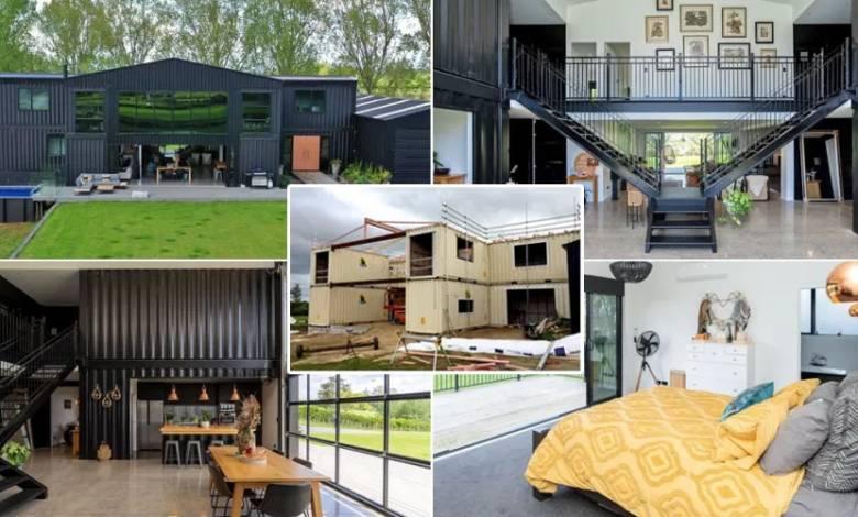 """Il construit une incroyable """"maison container"""" composée de 12 modules de transport de fret"""