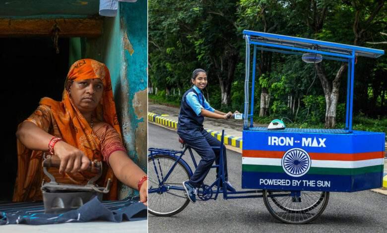 """Inde : une fillette 14 ans remplace les """"chariots de repassage"""" au charbon avec des vélos cargos solaires"""